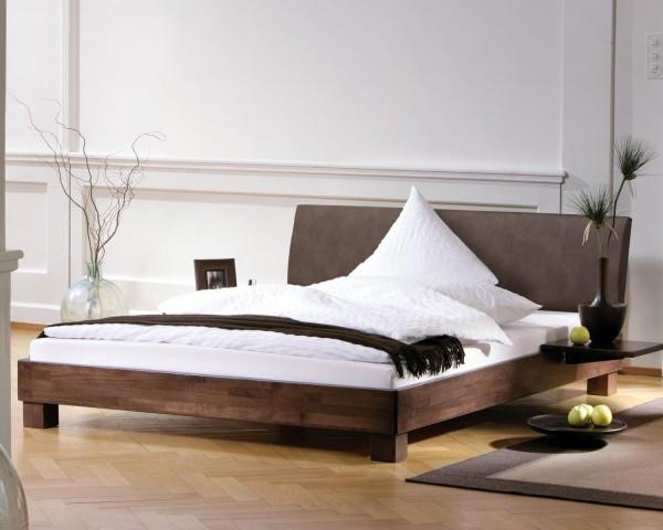 Full Size Gelbett Dual Wood Line Ivio Kopfteil Lecco